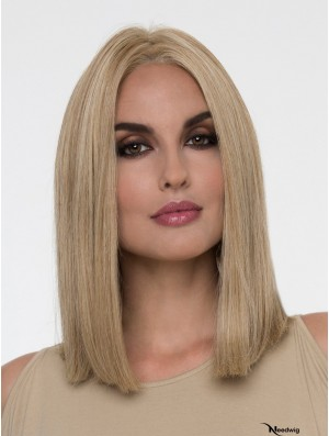 Straight Blonde Without Bangs 14 inch Monofilament Wig Sale