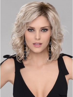 Wavy Platinum Blonde With Bangs 12 inch Monofilament Part Wigs