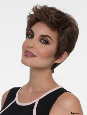 Straight Brown Boycuts 4 inch Lace Front Wig