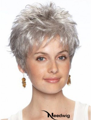 Grey Hair Wigs Lace Front Wavy Style Cropped Length