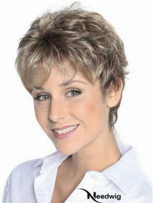Grey Hair Wigs Short Brown Color Cropped Length Wavy Style