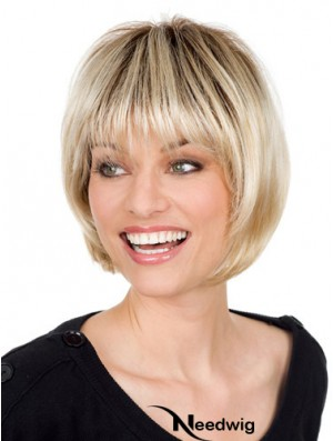 Blonde Monofilament Wig With Bangs Straight Style Chin Length