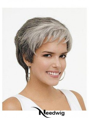Synthetic Natural Short Wavy Grey Wigs