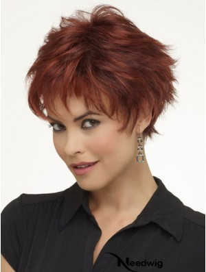 "8"" High Quality Wavy Boycuts Red Short Wigs"