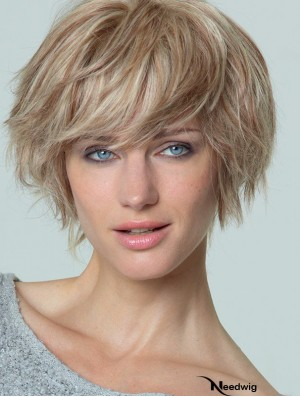 Short Straight Boycuts Blonde Popular 100% Hand-tied Wigs