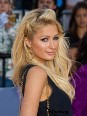 100% Hand-tied Long Wavy Without Bangs Blonde Fashionable Paris Hilton Wigs