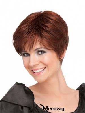 Red Short Straight Boycuts 100% Hand-tied High Quality Ladies Wigs Cheap