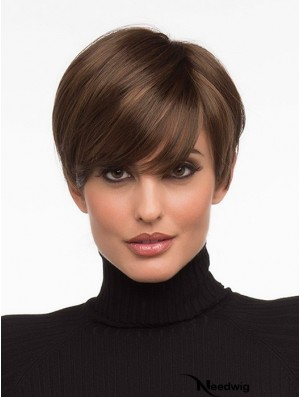 Fashionable Brown Cropped Straight Boycuts Monofilament Wigs