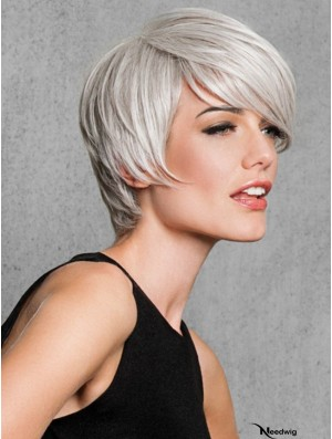 Capless Straight Short 8 inch Salt And Pepper Colour Wig