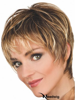 Brown Wigs Wavy Style Cropped Length Boycuts With Capless