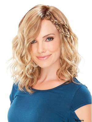 Shoulder Length Monofilament Blonde 13 inch Classical Wigs