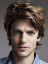 Brown Lace Front Wavy Short Layered Mens Hairstyles