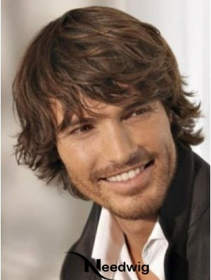 Brown Synthetic Chin Length Capless Wavy Mens Long Wig