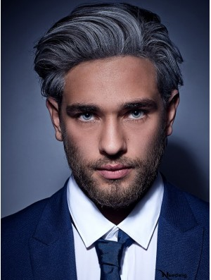 Synthetic Capless Grey Short Straight Mens Wigs To Buy UK