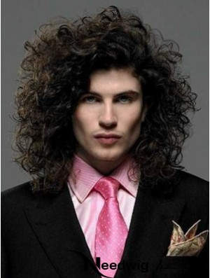 "Black Synthetic Lace Front 14"" Curly Long Hair Wigs For Men"