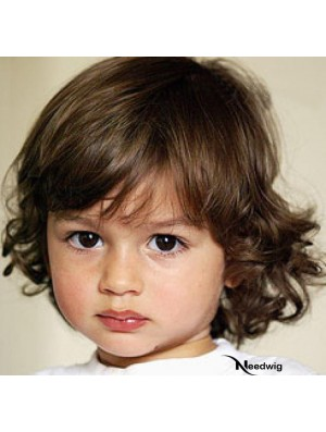 Curly Chin Length Blonde Remy Human Hair Capless Kids Wigs
