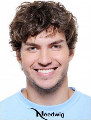 Wavy Synthetic Auburn Lace Front Short Hair Wigs For Men