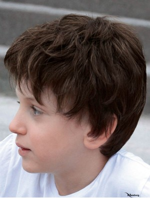 Curly Chin Length Brown Synthetic Lace Front Kids Wigs