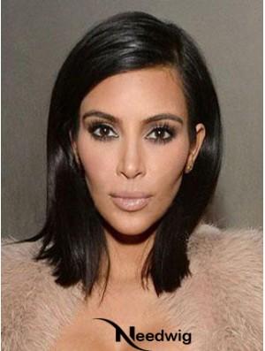 Black Shoulder Length Straight Lace Front Popular 14 inch Kim Kardashian Wigs