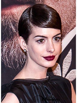 Brown Cropped Straight Boycuts Capless 5 inch Anne Hathaway Wigs