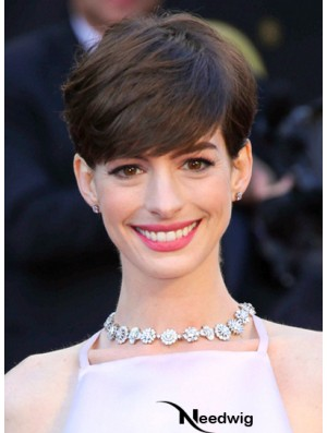 Brown Cropped Straight Boycuts Capless 6 inch Anne Hathaway Wigs