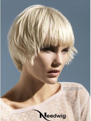 "Monofilament Boycuts Short Straight 10"" Platinum Blonde Convenient Fashion Wigs"