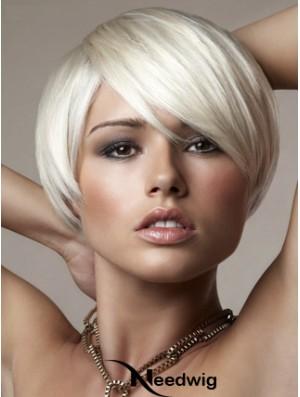 Capless Bobs Short Straight 8 inch Platinum Blonde Online Fashion Wigs