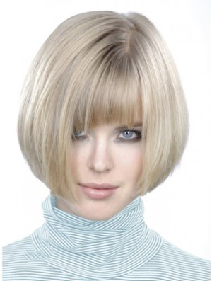 Monofilament Bobs Short Straight 10 inch Platinum Blonde Style Fashion Wigs