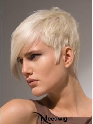 "Capless Boycuts Short Straight 8"" Platinum Blonde Stylish Fashion Wigs"