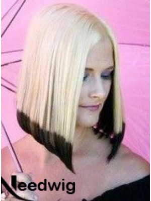 """14"""" Ombre/2 Tone Chin Length Bobs Straight Good Lace Wigs"""