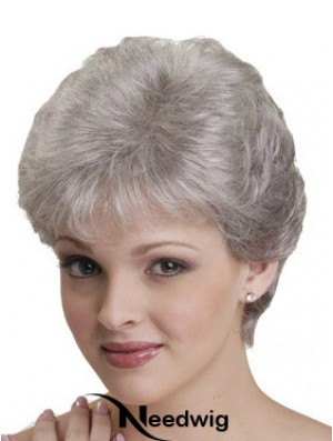 Short Grey Wigs With Synthetic Capless Straight Style