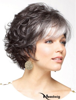 Classic Cut Wig Grey Cut Short Length Curly Style With Capless