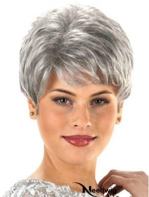 Synthetic Cheap Short Wavy Grey Wigs
