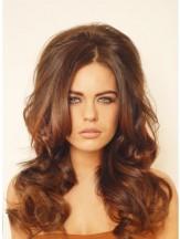 Human Hair Falls Auburn Color Long Length Wavy Style