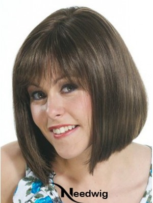 Brown Bob Wig With Capless Straight Style Chin Length
