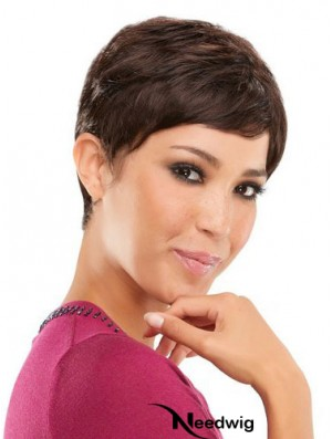 Brown Cropped Straight Boycuts Capless Wig Online