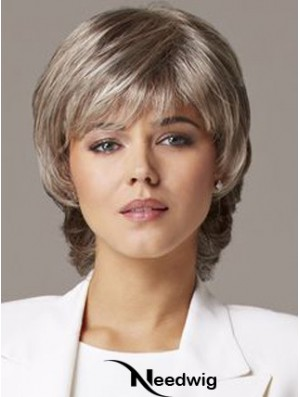 Wavy Capless 10 inch Sleek Short Grey Wigs