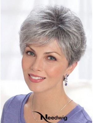 Straight Lace Front 8 inch Online Short Grey Wigs