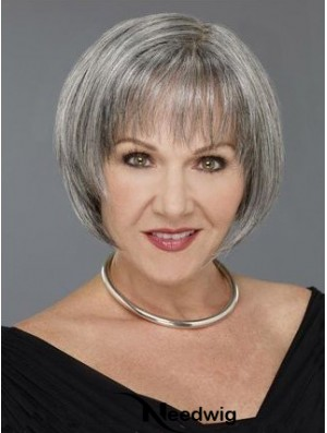 Straight Capless 8 inch Natural Short Grey Wigs