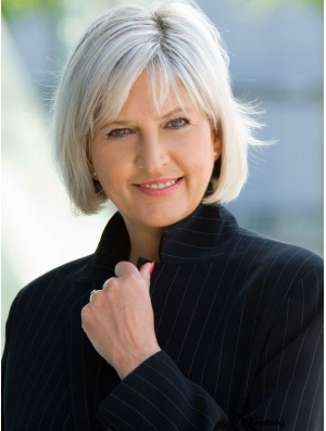 Real Human Hair Wigs With Capless Straight Style Grey Cut