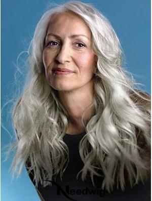 Wavy Full Lace 22 inch Style Long Grey Wigs