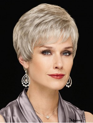 """Perfect Short Wavy 6"""" Synthetic Grey Wigs"""