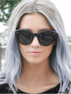 """Discount Long Straight 18"""" Synthetic Grey Wigs"""