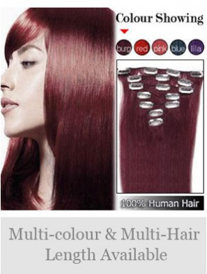 Sleek Red Straight Remy Human Hair Clip In Hair Extensions