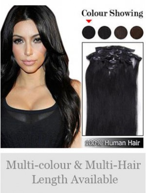 Sassy Black Straight Remy Human Hair Clip In Hair Extensions
