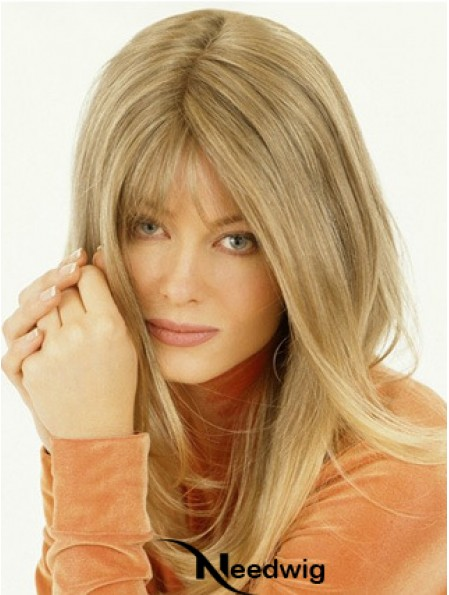 Wig Falls Long Length Straight Style Blonde Color