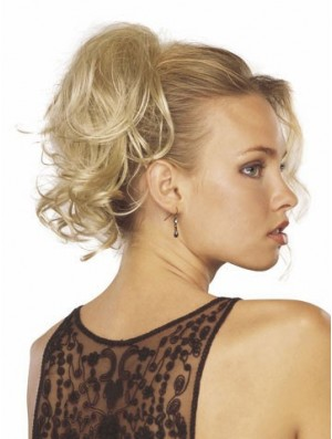 Cheap Clip In Hairpieces With Synthetic Blonde Color Wavy Style